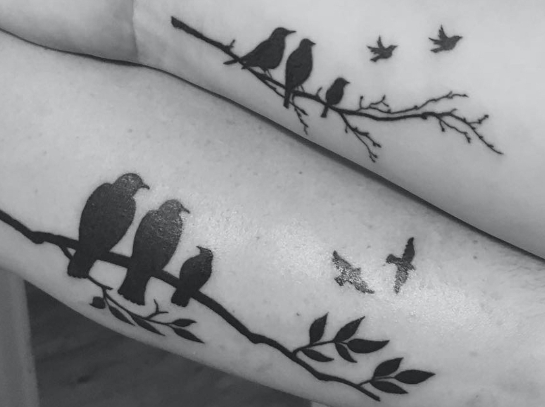 Miscarriage Tattoo - Birds On Branch and Flying